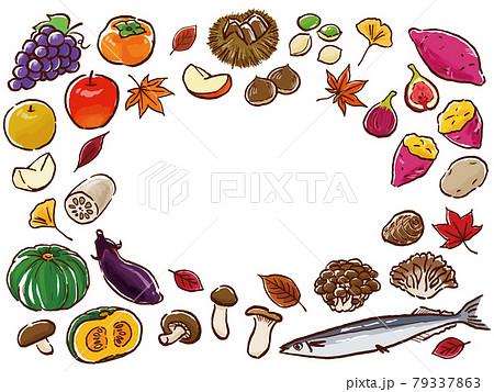 手描き風秋の食べ物フレーム 79337863