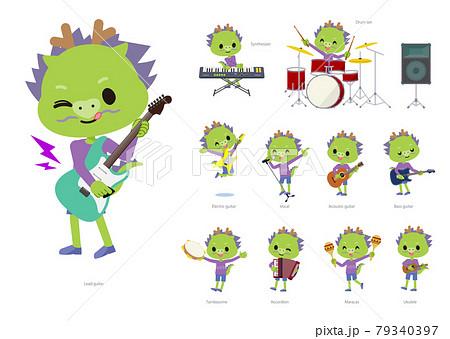 ロックンロールやポップミュージックを演奏する龍の男の子のセット 79340397