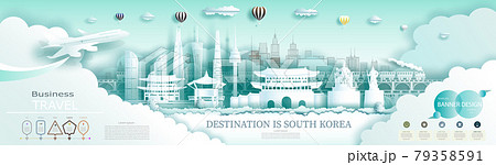 Modern business brochure design for South Korea landmarks advertising. 79358591