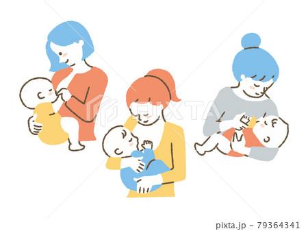 授乳しているお母さん_セット_色 79364341