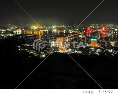 高塔山展望台から眺める北九州の夜景 福岡県北九州市若松区修多羅 79369271