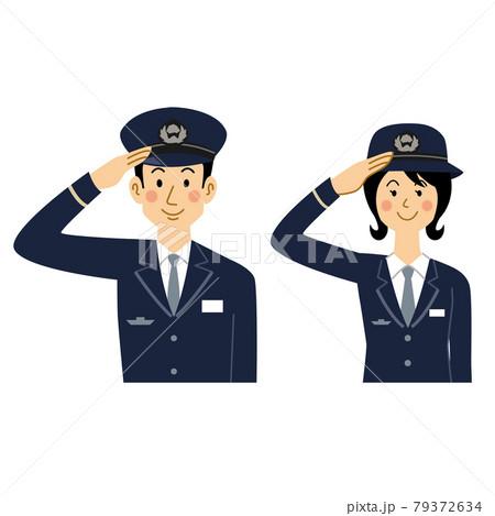 敬礼する鉄道員の男女 79372634