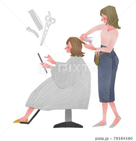 美容師お女性とタブレットを見る女性の人物全身手描きイラスト 79384380