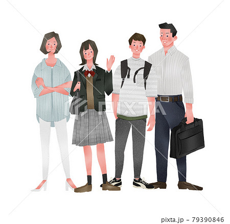 家族おしゃれ温かい全身手描きイラスト 79390846