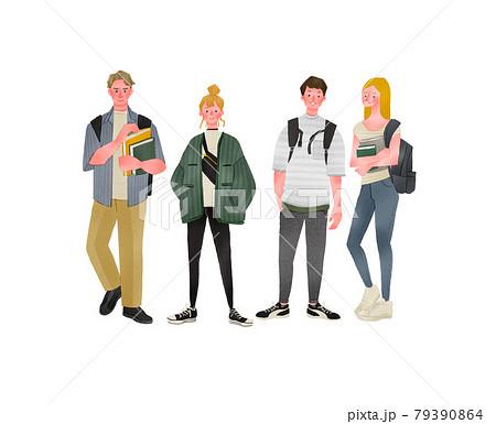留学生や大学生のおしゃれ温かい全身手描きイラスト 79390864