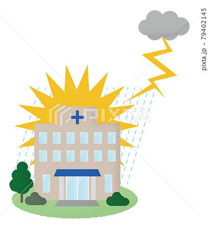 落雷の被害に遭う病院のベクターイラスト 79402145