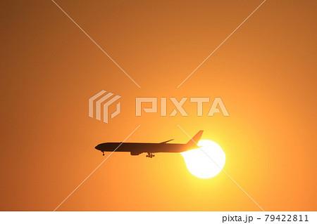 夕日と飛行機 79422811