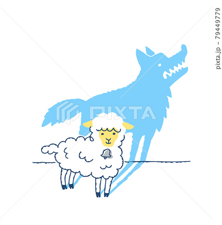 かわいい羊とオオカミのシルエット 79449779