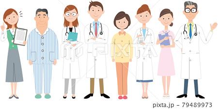 病院のスタッフとお医者さんと患者さん 79489973