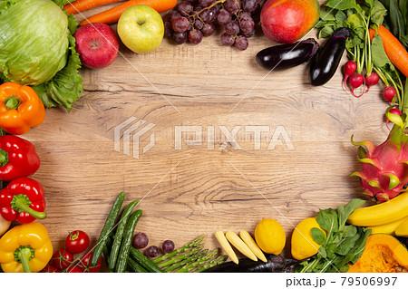 野菜と果物で作ったサークル コピースペース 79506997