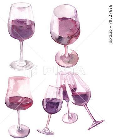 赤ワインのセット 水彩素材 79527636