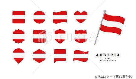 オーストリアの国旗 色々な形のアイコンセット ベクターイラスト 79529440
