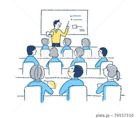 授業風景 男性教師と授業を受ける生徒たち 79557310