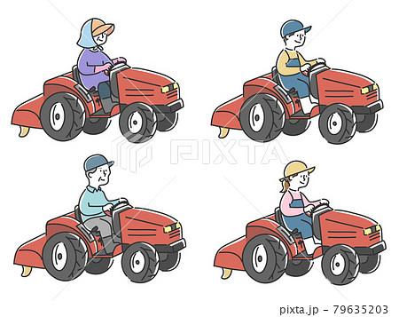 トラクターで農作業する人々セット 79635203