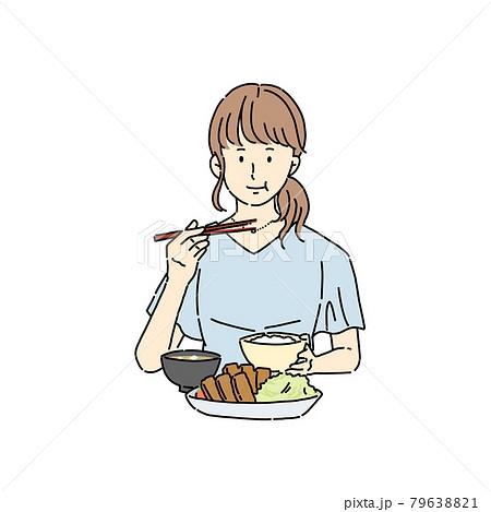 ランチ、食事をする女性、お昼ご飯 79638821