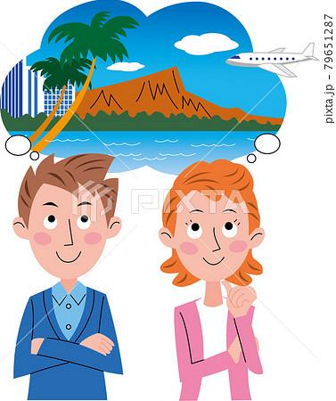 カップルが吹き出しでハワイ旅行を計画又は思い浮かべているイラスト 79651287