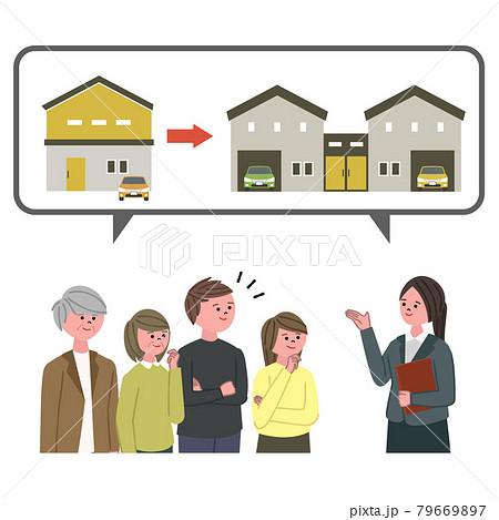 二世帯住宅を検討する人々と案内するスーツの女性のイラスト 79669897