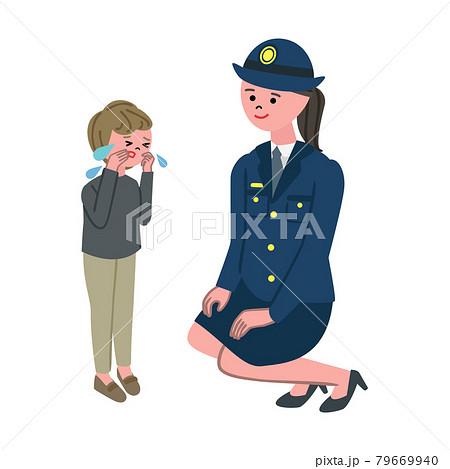 迷子の子供と女性警官のイラスト 79669940