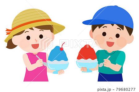 かき氷を食べる男の子と女の子 イラスト 79680277