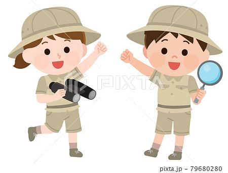 探検服で冒険する男の子と女の子 イラスト 79680280
