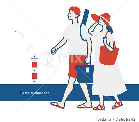 海でデートするカップルのイラスト ベクター 夏 79696843