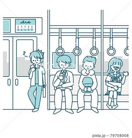 電車で通勤する男性 79708008