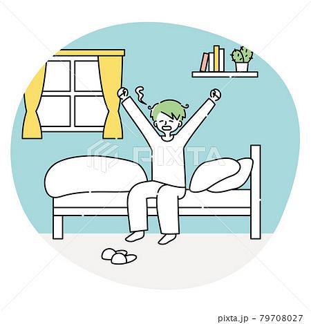 朝起きてベッドの上であくびをする男性 79708027
