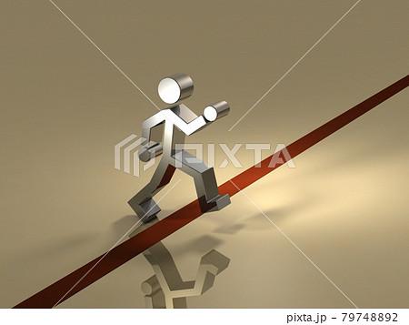 スタートラインを越えて初めの一歩を踏み出す人物。3Dレンダリング。 79748892