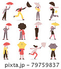 People holding umbrella. Male and female fall characters with umbrellas, rainy day stroll vector illustration set. Cartoon people walking under umbrella 79759837