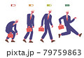 Businessman life energy levels. Tired and vigorous male business character, half and low battery energy levels vector illustration. Office worker life energy 79759863