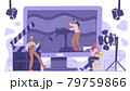 Movie industry concept. Cinematography cinema production, film shooting team isolated vector background illustration. Filmmaking concept scene 79759866