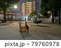 雨夜の公園 散策道と遊具と住宅街 79760978