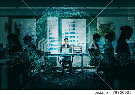 会社組織のITテクノロジーイメージ 79800986