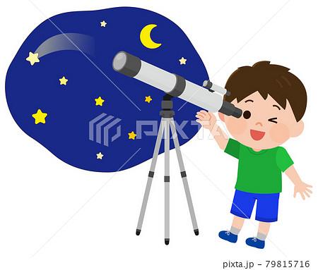 望遠鏡で天体観測する男の子 イラスト 79815716