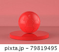 red soccer ball on red background 79819495
