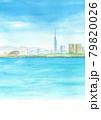福岡タワーが見える風景 水彩画 A4縦 79820026