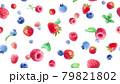 3種のベリーの水彩イラスト壁紙。シームレスパターン。(イチゴ、ラズベリー、ブルーベリー,ミント) 79821802