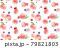 フレッシュな桃とベリーの混合模様の水彩イラスト。シームレスパターン。壁紙。 79821803