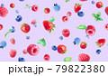 3種のベリーの水彩イラスト壁紙。シームレスパターン。(イチゴ、ラズベリー、ブルーベリー,ミント) 79822380