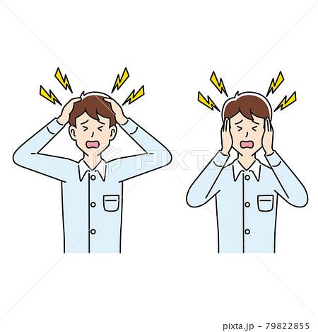 頭痛と騒音に悩む男性 79822855