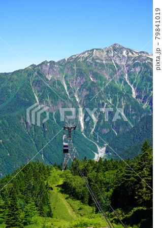 梅雨明けした夏空の新穂高ロープウェイと笠ヶ岳 79841019