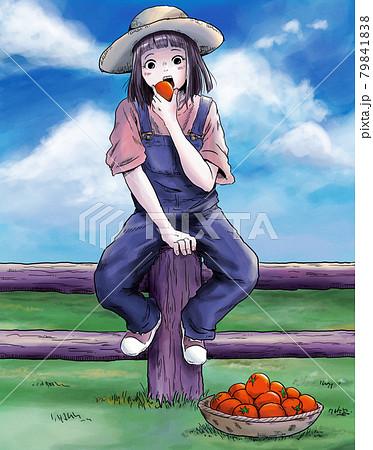 トマト農家の女の子 79841838