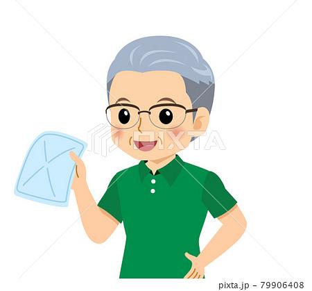半袖を着た白髪の男性 79906408