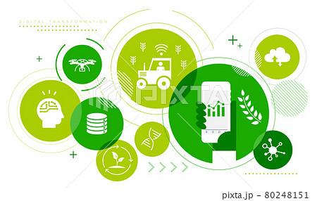 農業DX、デジタルトランスフォーメーションのアイコンイメージ、ベクター 80248151