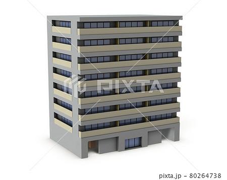 ミニチュアのマンション。3Dレンダリング。白バック。 80264738