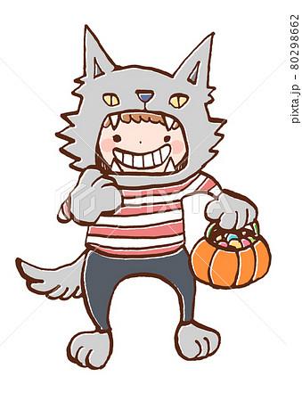 ハロウィンで狼男の仮装をする子どものイラスト 80298662
