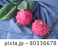 dragon fruit on a table , top view  80336678