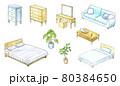 上から見た家具の水彩イラスト セット 80384650
