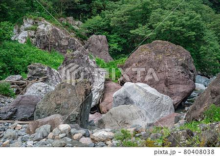 小滝川ヒスイ狭 流れ着いた翡翠の原石 80408038