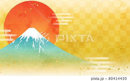 水彩の富士山と日の出のお正月のベクターイラスト背景(朝日,金,市松模様,テクスチャ,日本,年賀状素材 80414430